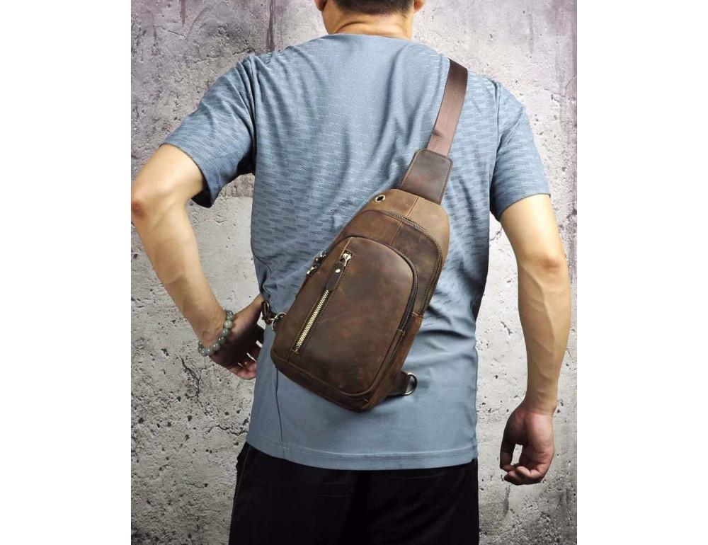 Мужская сумка-рюкзак Tiding Bag M37-XB9012C Коричневая - Фото № 2