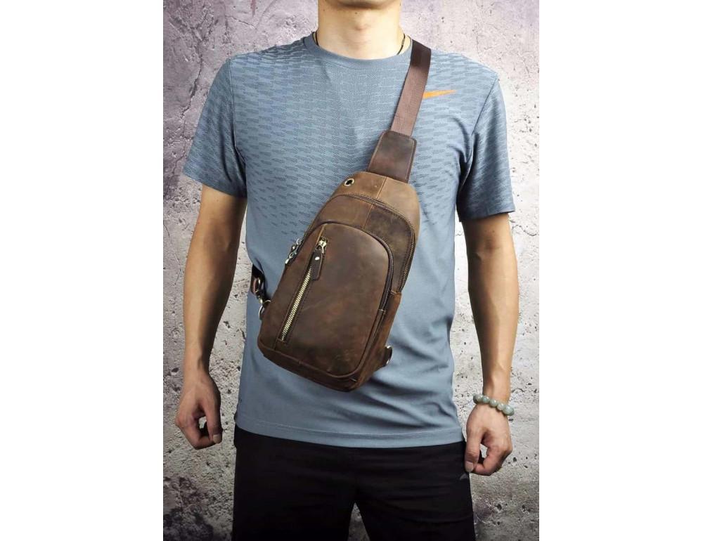 Мужская сумка-рюкзак Tiding Bag M37-XB9012C Коричневая - Фото № 3