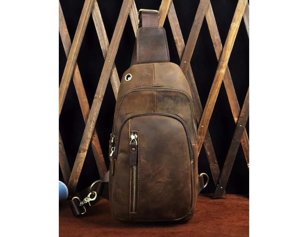 Мужская сумка-рюкзак Tiding Bag M37-XB9012C Коричневая - Фото № 4