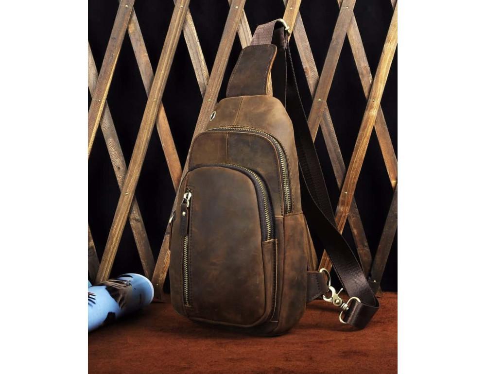 Мужская сумка-рюкзак Tiding Bag M37-XB9012C Коричневая - Фото № 6
