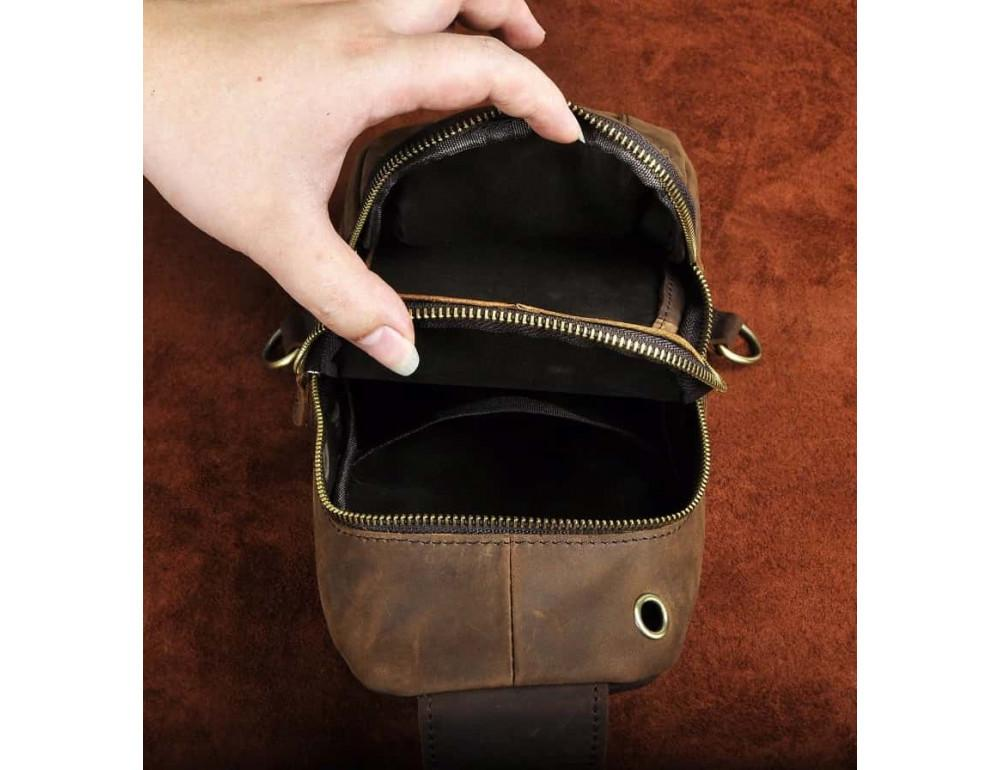 Мужская сумка-рюкзак Tiding Bag M37-XB9012C Коричневая - Фото № 8