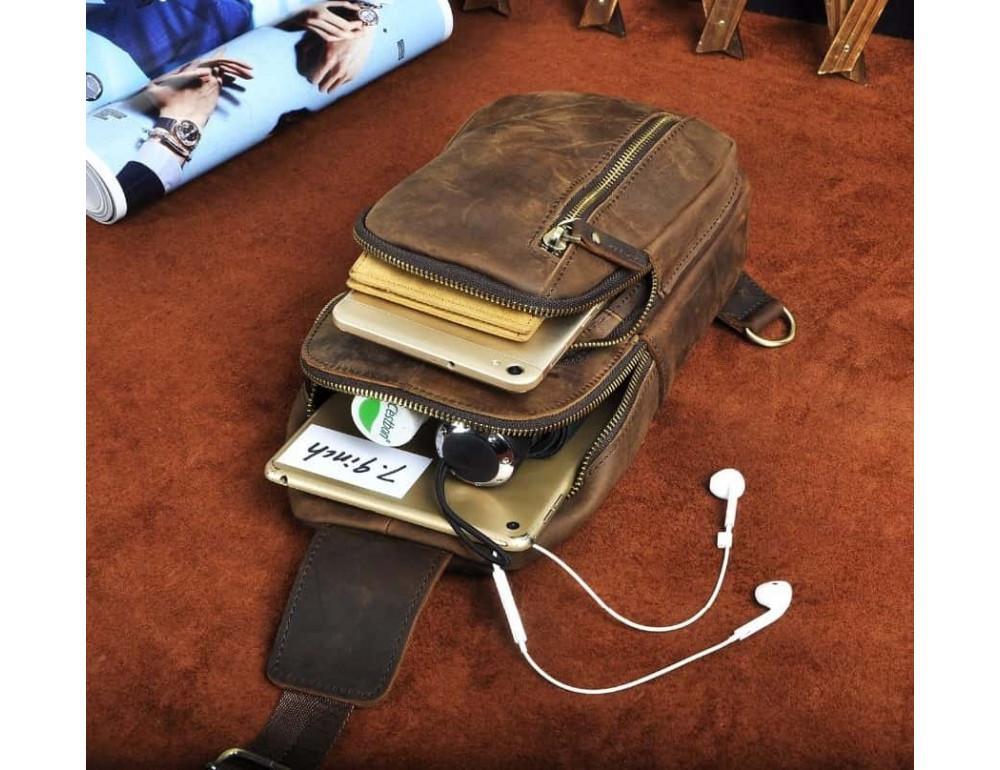 Мужская сумка-рюкзак Tiding Bag M37-XB9012C Коричневая - Фото № 9