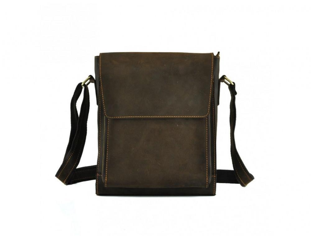 Мужская кожаная сумка на плечо TIDING BAG 7055DB коричневая - Фото № 3