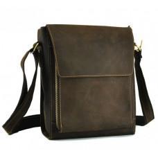 Мужская кожаная сумка на плечо TIDING BAG 7055DB коричневая