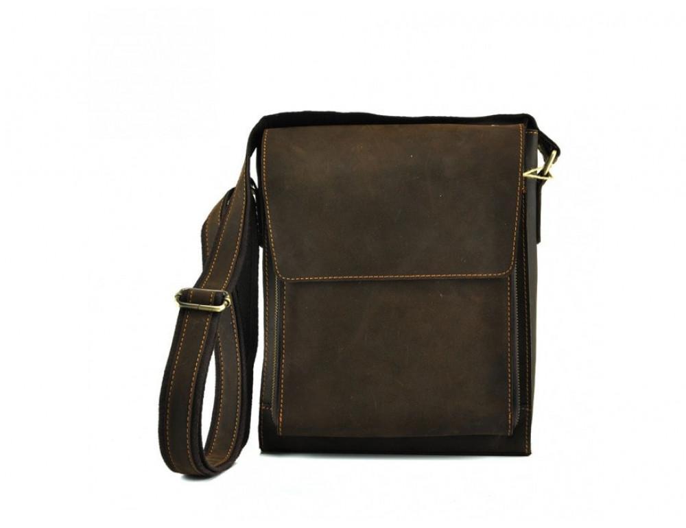 Мужская кожаная сумка на плечо TIDING BAG 7055DB коричневая - Фото № 4