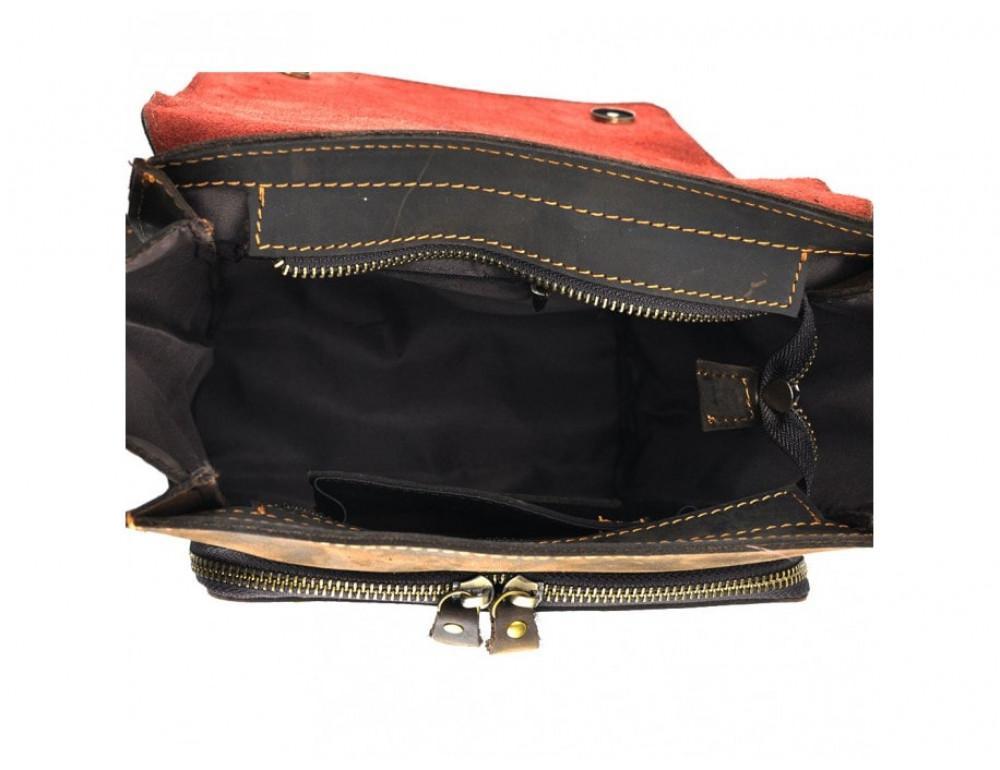 Мужская кожаная сумка на плечо TIDING BAG 7055DB коричневая - Фото № 5