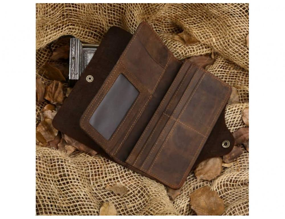 Кожаный портмоне TIDING BAG 8032R коричневый - Фото № 7