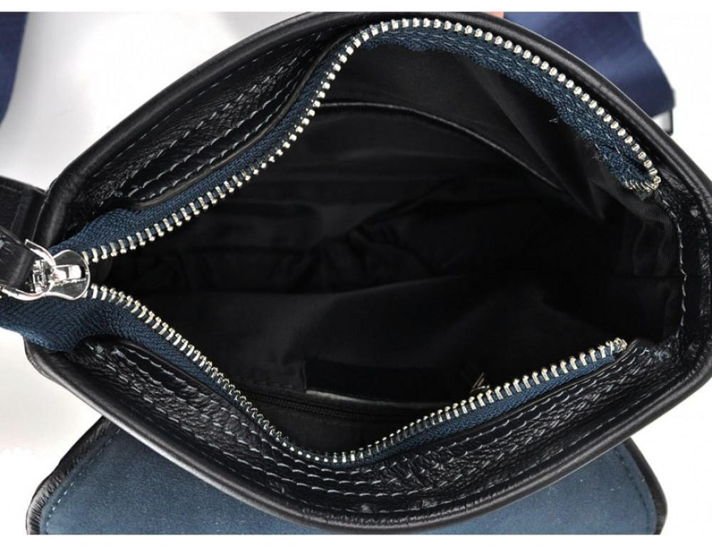 Кожаный мессенджер Tiding Bag M685-1BL синий - Фото № 2