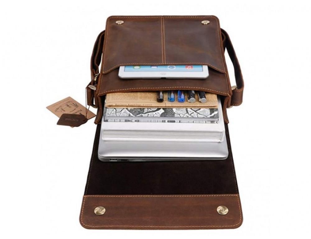 Кожаная сумка планшет А5 Tiding Bag t0034 тёмно-коричневая - Фото № 2