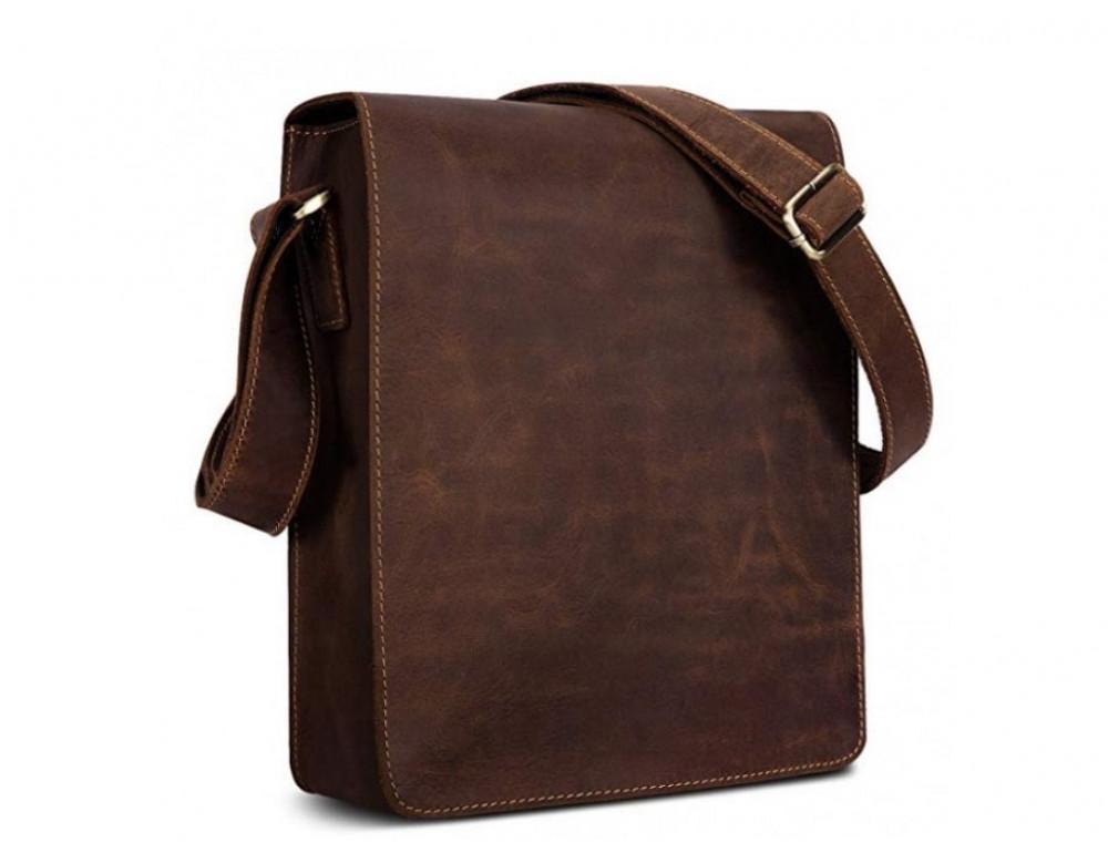 Кожаная сумка планшет А5 Tiding Bag t0034 тёмно-коричневая - Фото № 3