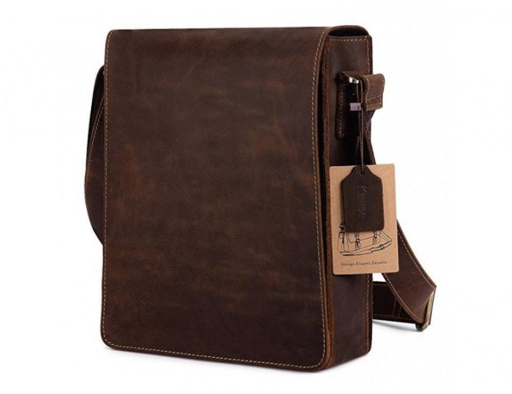 Кожаная сумка планшет А5 Tiding Bag t0034 тёмно-коричневая - Фото № 5