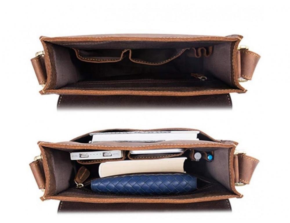 Кожаная сумка планшет А5 Tiding Bag t0034 тёмно-коричневая - Фото № 6