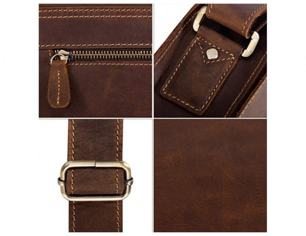 Кожаная сумка планшет А5 Tiding Bag t0034 тёмно-коричневая - Фото № 7
