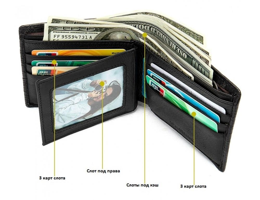Коричневый кожаный кошелёк под кроко Tidin Bag F11-2C - Фото № 2