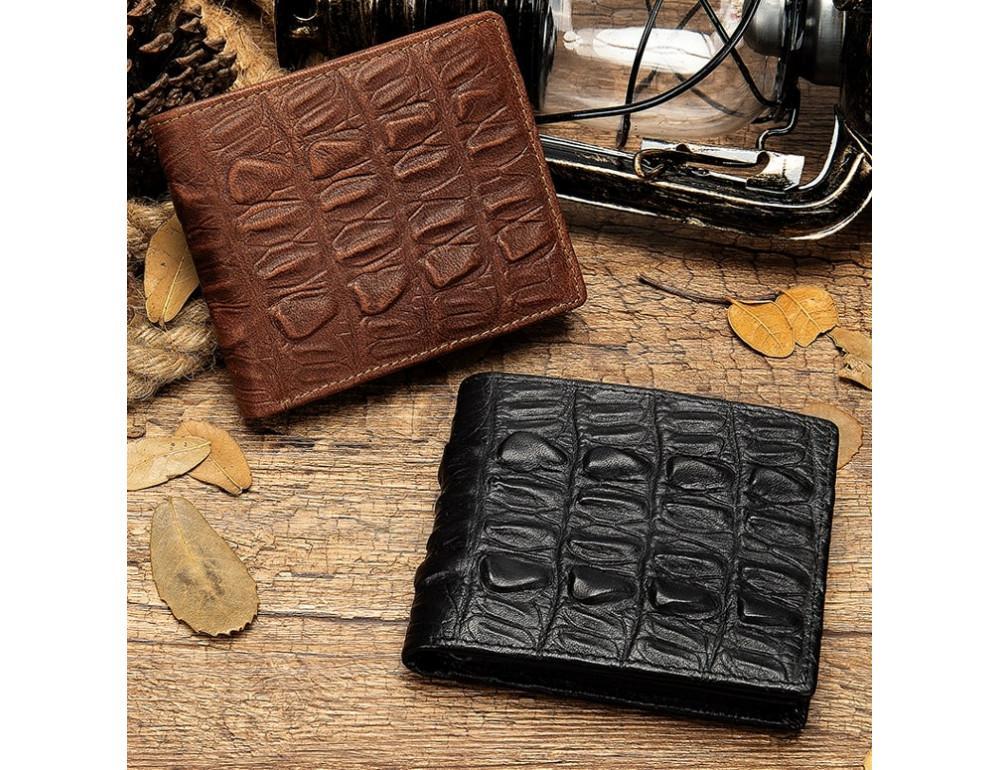 Коричневый кожаный кошелёк под кроко Tidin Bag F11-2C - Фото № 3