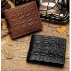 Коричневый кожаный кошелёк под кроко Tidin Bag F11-2C - Фото № 102