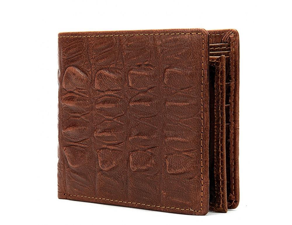 Коричневый кожаный кошелёк под кроко Tidin Bag F11-2C - Фото № 1