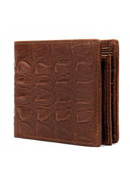 Коричневый кожаный кошелёк под кроко Tidin Bag F11-2C