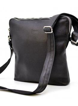 Чёрная сумка через плечо на два отделения из фактурной кожи TARWA FA-1048-3md