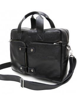 Чёрная кожаная сумка под ноутбук TARWA FA-1089-4lx