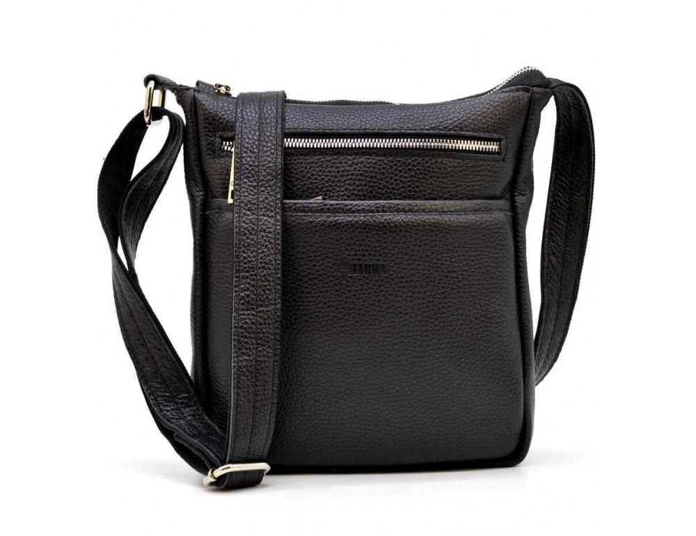 Чёрная кожаная сумка через плечо TARWA FA-1300-3md - Фото № 8