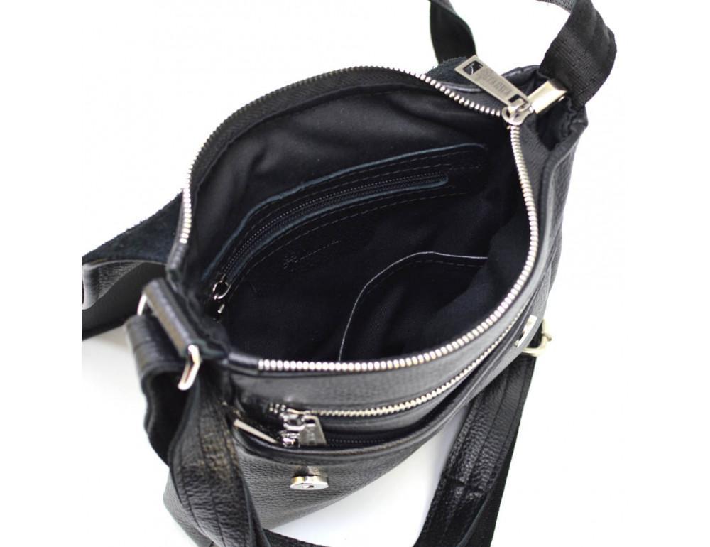 Чёрная кожаная сумка на плечо TARWA FA-1301-3md - Фото № 2