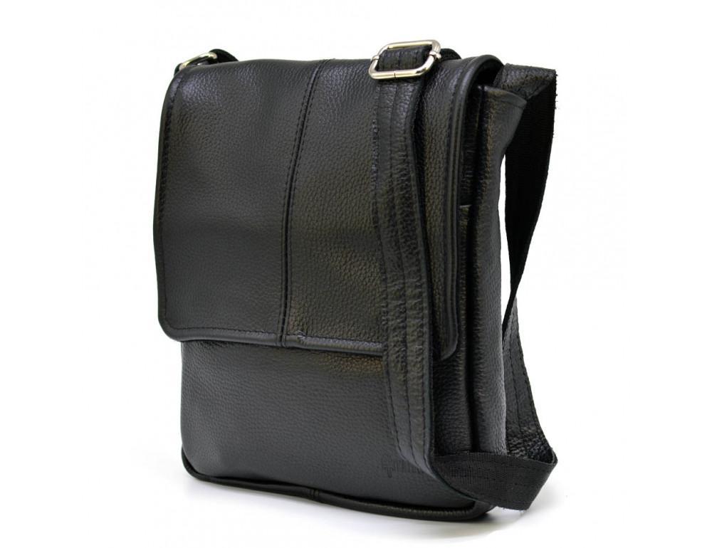 Чёрная кожаная сумка на плечо TARWA FA-1301-3md - Фото № 1