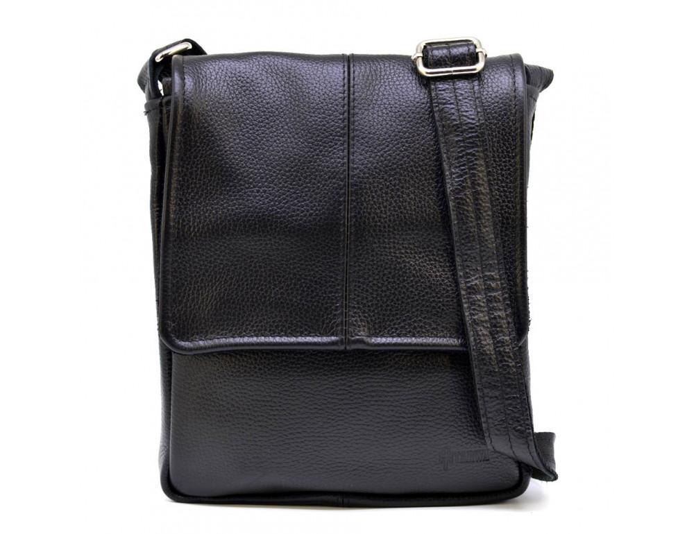 Чёрная кожаная сумка на плечо TARWA FA-1301-3md - Фото № 4