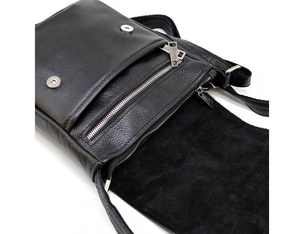 Чёрная кожаная сумка на плечо TARWA FA-1301-3md - Фото № 5