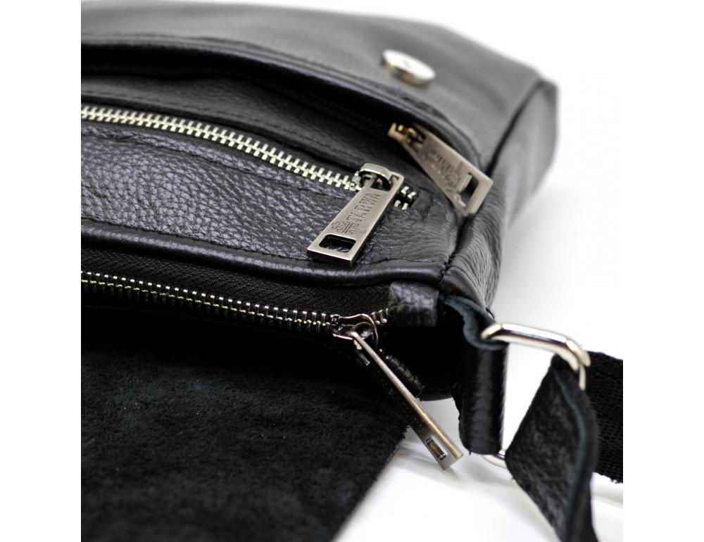 Чёрная кожаная сумка на плечо TARWA FA-1301-3md - Фото № 7