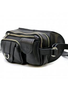 Чорна зерниста сумка на пояс з двома відділеннями TARWA fa-1560-4lx