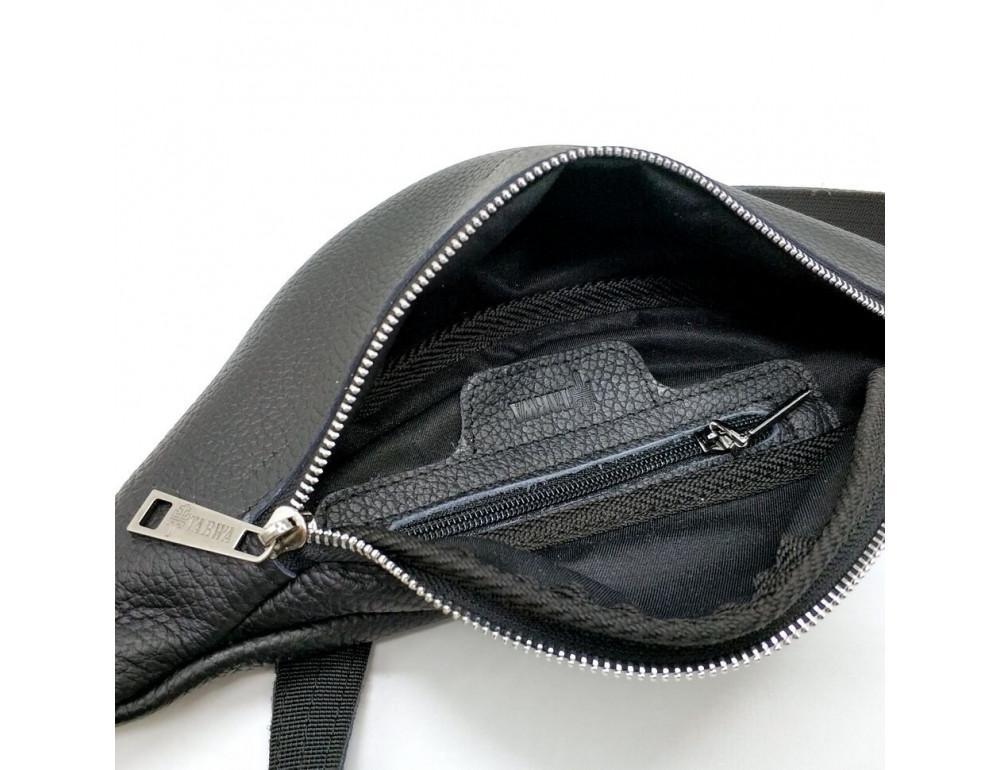 Чёрная кожаная сумка на пояс TARWA FA-3005-4MD - Фото № 2