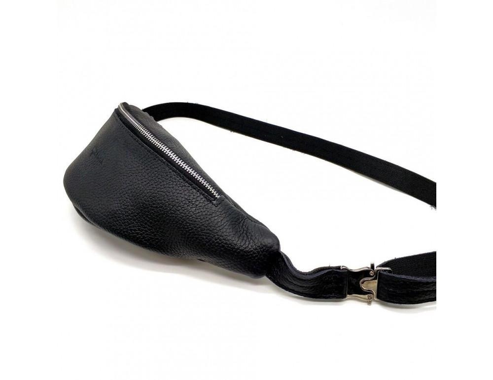 Чёрная кожаная сумка на пояс TARWA FA-3005-4MD - Фото № 1