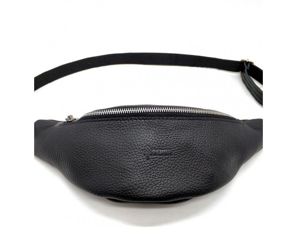 Чёрная кожаная сумка на пояс TARWA FA-3005-4MD - Фото № 3