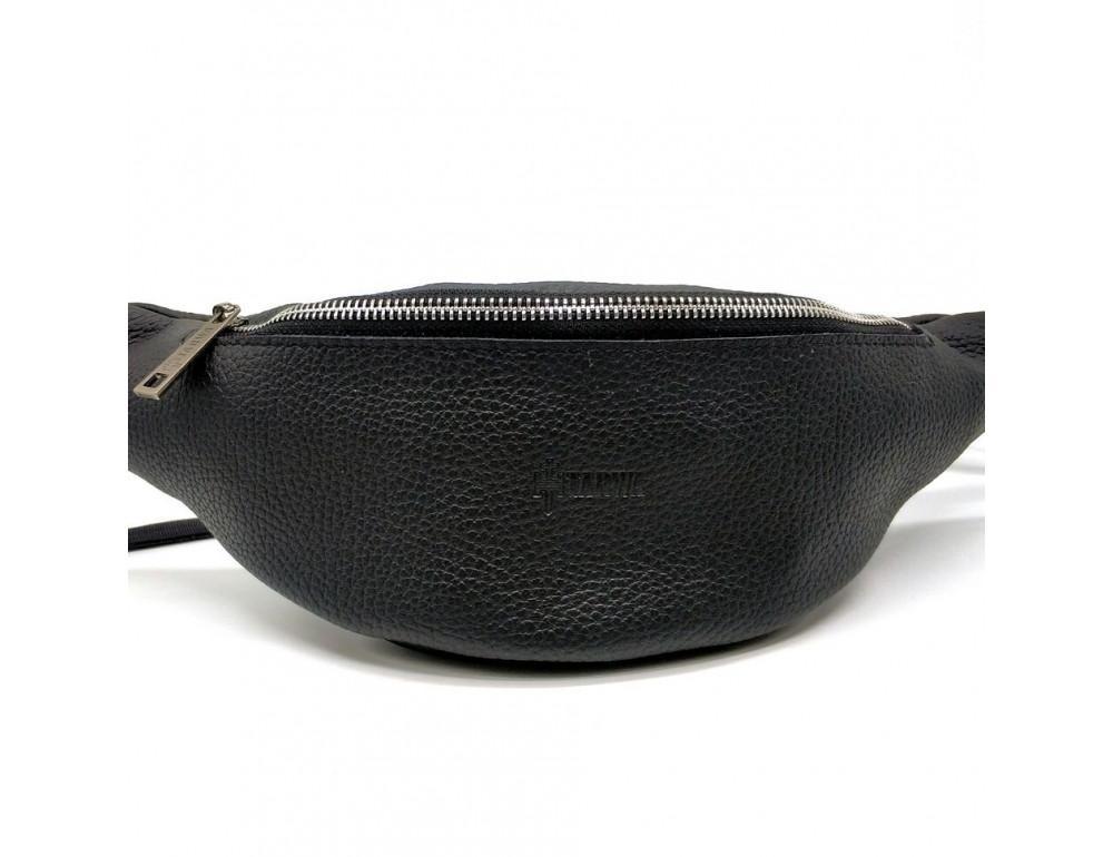 Чёрная кожаная сумка на пояс TARWA FA-3005-4MD - Фото № 4
