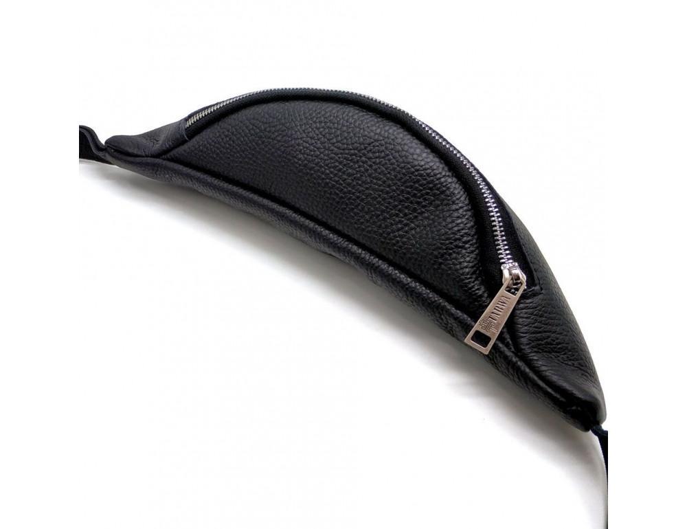 Чёрная кожаная сумка на пояс TARWA FA-3005-4MD - Фото № 5