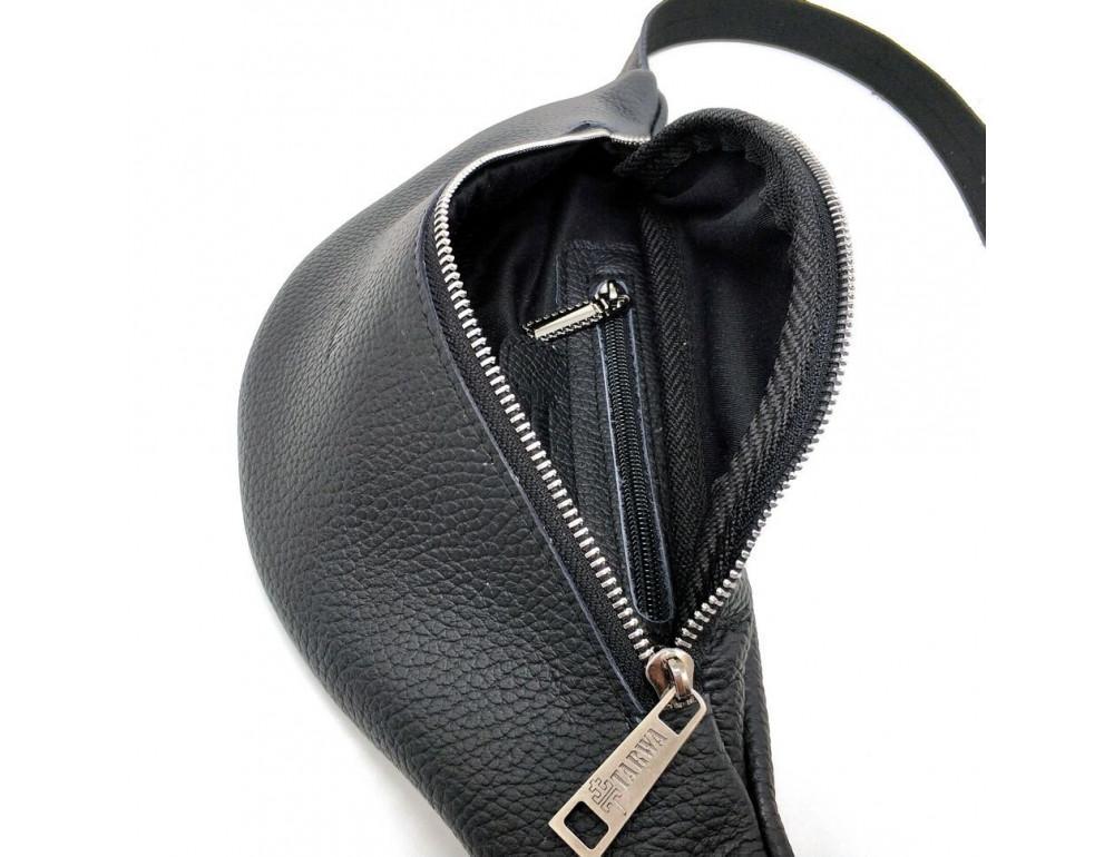 Чёрная кожаная сумка на пояс TARWA FA-3005-4MD - Фото № 8