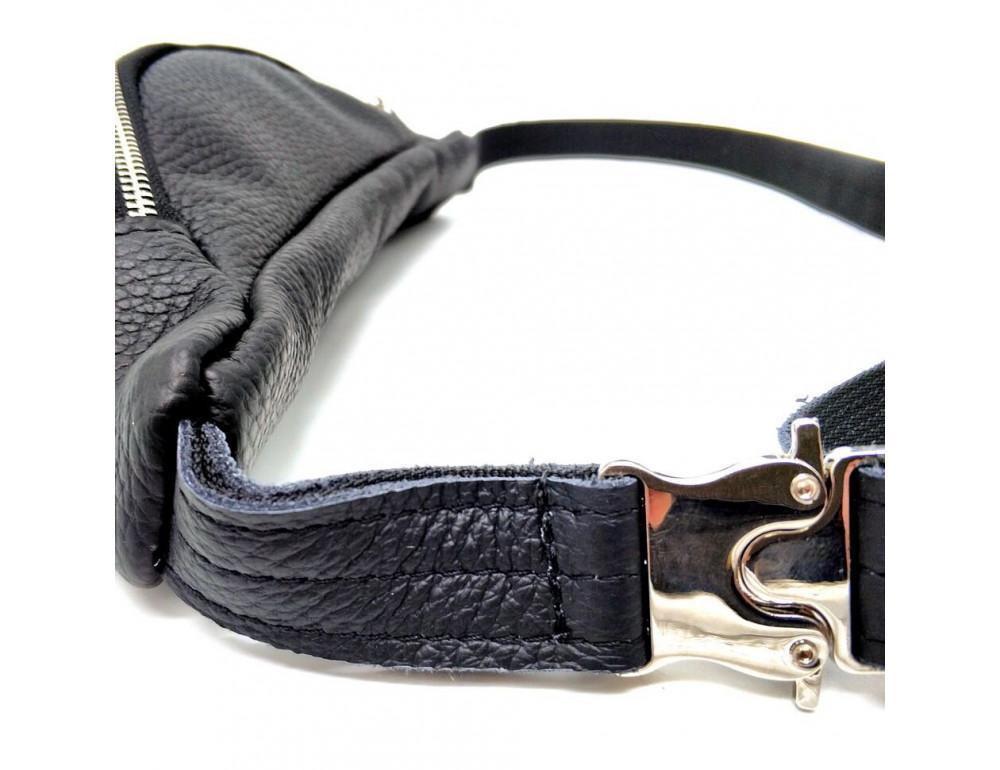 Чёрная кожаная сумка на пояс TARWA FA-3005-4MD - Фото № 9