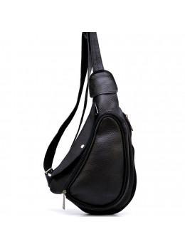Чорна сумка слінг з фактурної шкіри TARWA FA-3026-3md