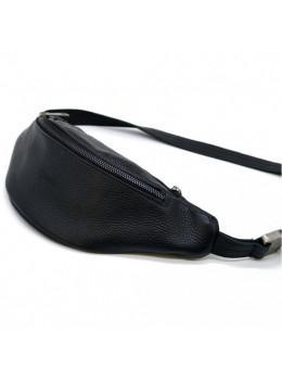 Чёрная кожаная сумка на пояс TARWA FA-3035-3md
