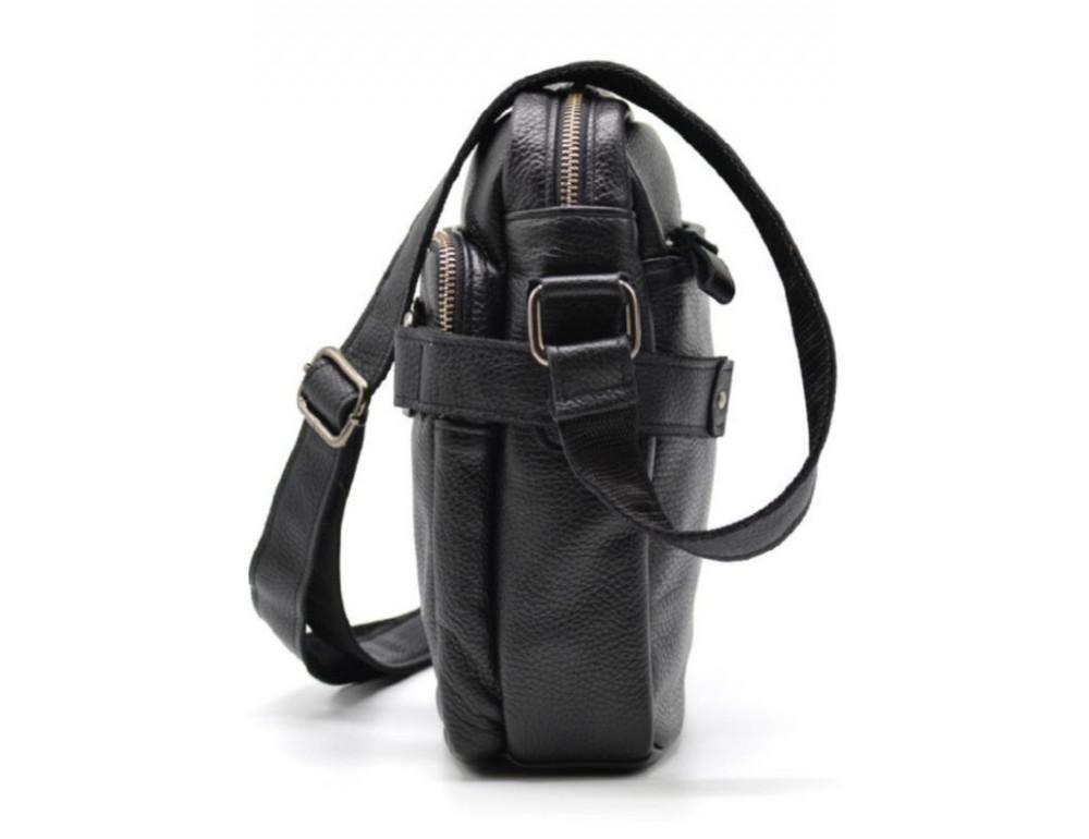 Чёрная кожаная сумка через плечо TARWA FA-6012-3md - Фото № 3