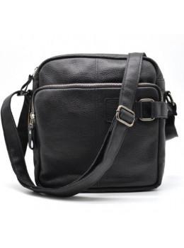 Чёрная кожаная сумка через плечо TARWA FA-6012-3md