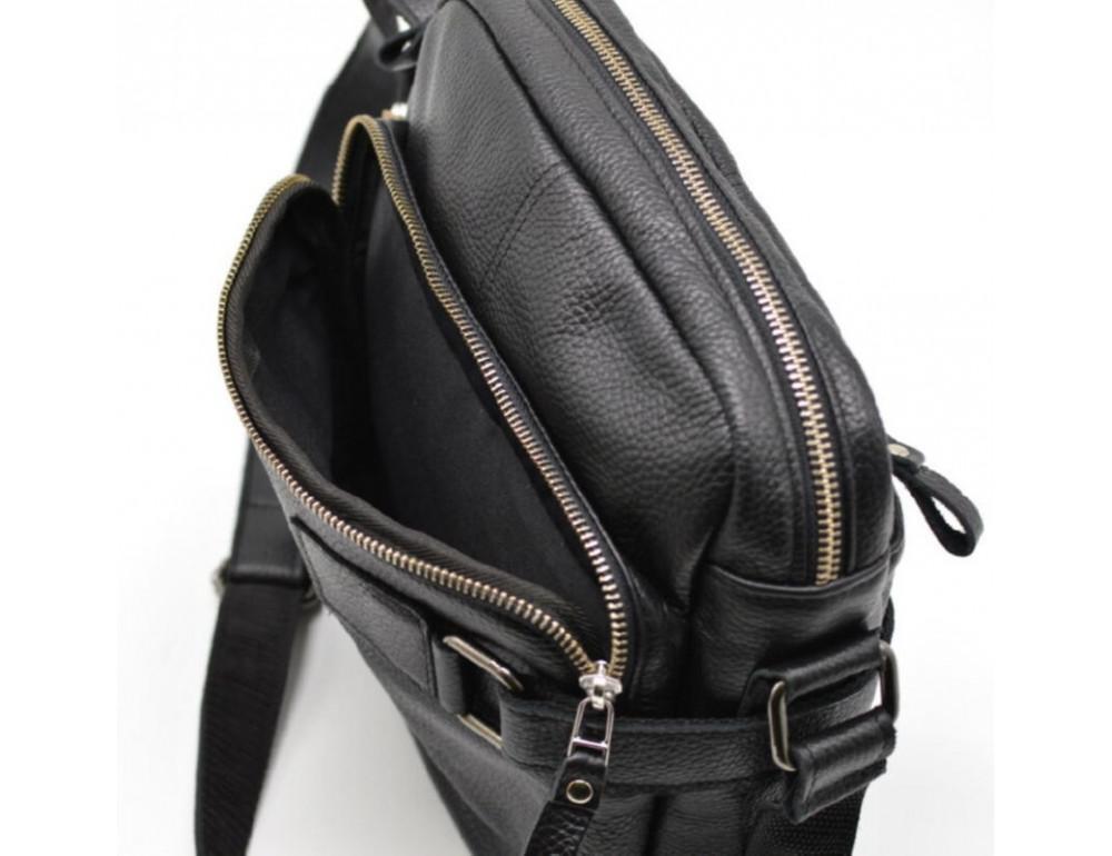 Чёрная кожаная сумка через плечо TARWA FA-6012-3md - Фото № 4