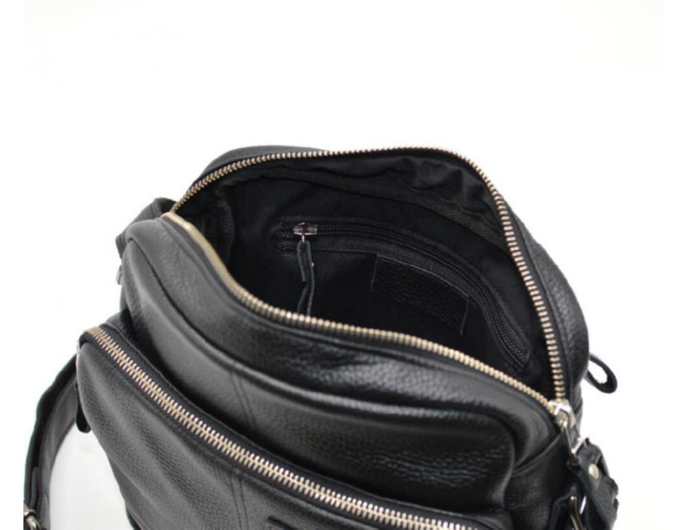 Чёрная кожаная сумка через плечо TARWA FA-6012-3md - Фото № 5