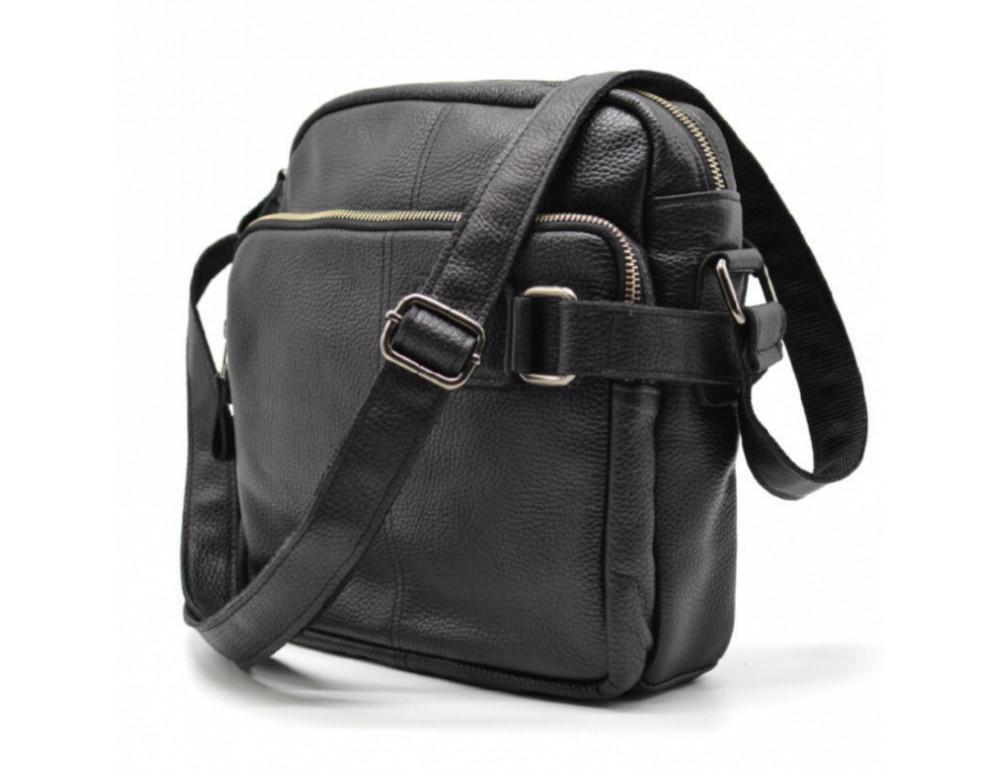 Чёрная кожаная сумка через плечо TARWA FA-6012-3md - Фото № 6