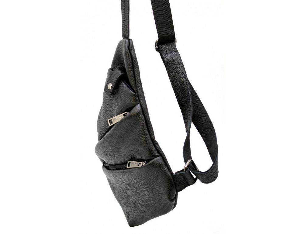 Чёрная сумка на плечо из кожи TARWA FA-6402-3md - Фото № 3
