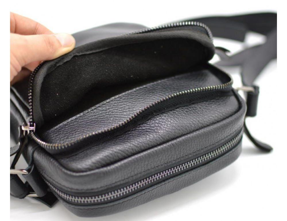 Чёрная маленькая мужская сумочка TARWA FA-8086-1md - Фото № 6