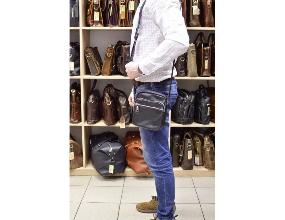 Чёрная маленькая мужская сумочка TARWA FA-8086-1md - Фото № 10