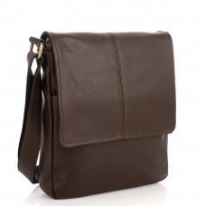 Коричневая сумка мессенджер из зернистой кожи TARWA FC-1301-3md