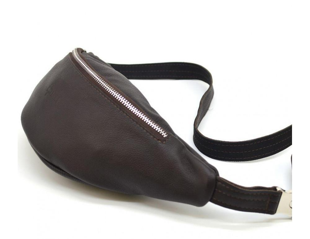 Коричневая кожаная сумка на пояс TARWA fc-3005-4lx - Фото № 1